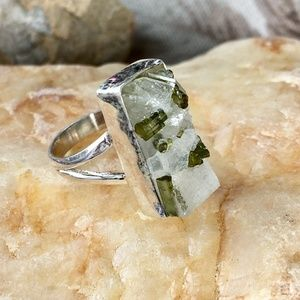 Green tourmaline crystals in quartz sterling ring